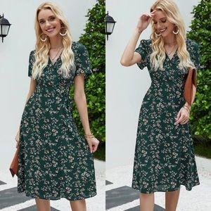 Boho floral print wrap knotted midi dress green